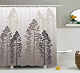Country Shower Curtain by Ambesonne, Pine Trees in the Forest on Foggy Seem Ombre Backdrop Wildlife Adventure Artwork, Fabric Bathroom Decor Set with Hooks, 70 Inches, Warm Taupe