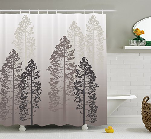 Farmhouse Decor Shower Curtain by Ambesonne, Pine Trees in the Forest on Foggy Blurry Backdrop Wild Life Adventure