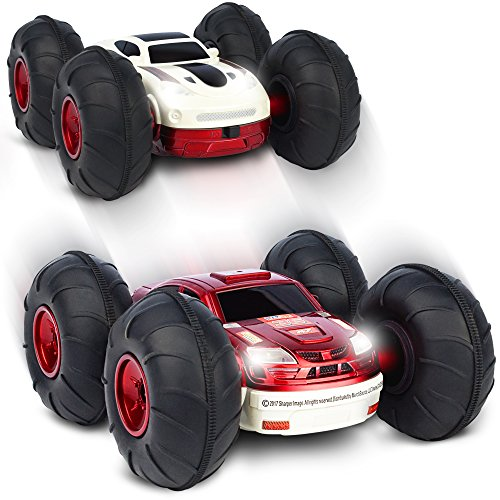 Sharper Image Remote Control RC Cars Flip Stunt Rally Car Toy for Kids, 49 MHz, 2-in-1 Reversible Design for Racing, Cool Stunts, Tricks, LED Headlights, AAA Battery Powered, RED/WHITE (Double Action Trucks)
