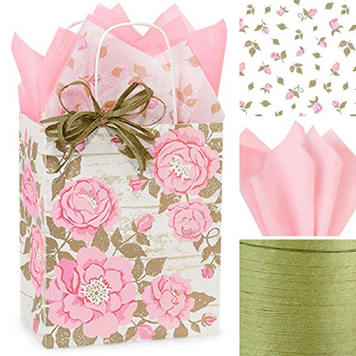 Gift WRAP Set: Gift Bags with Tissue Paper/Ribbon Bundle, Set of 10 (Pink Flowers/Pink Floral), for Wedding, Bridal Shower, Quinceanera