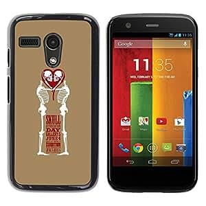 Shell-Star Arte & diseño plástico duro Fundas Cover Cubre Hard Case Cover para Motorola Moto G1 / X1032 ( Love Skull Funny Brown White Heart )