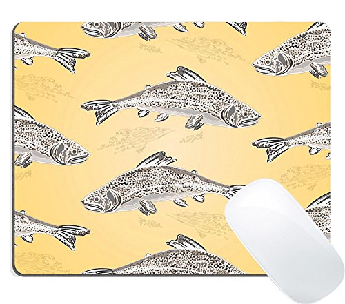 Price comparison product image Wknoon Gaming Mouse Pad Custom Design Mat, Seamless texture brook trout salmonidae fish as vintage engraved vector illustration