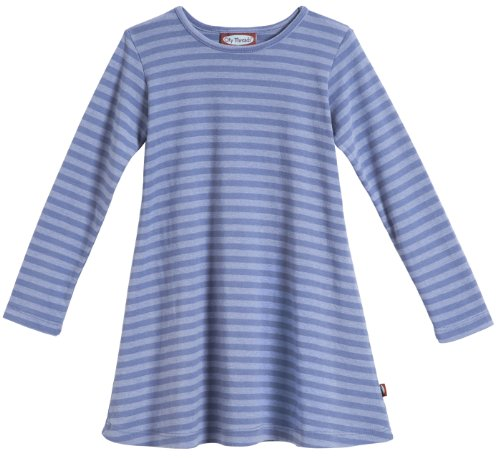 Dark Denim Girls (City Threads Big Girls' Cotton Long Sleeve Dress, Striped Denim Blue, 7)