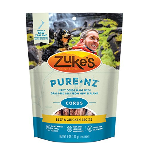 Zuke's PureNZ Jerky Cords New Zealand Beef & Chicken Recipe Dog Treats - 5 oz. Pouch - Zukes Chicken Cat Treats