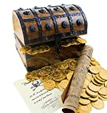 Well Pack Box Large Wooden Pirate Treasure Chest 144 Plastic Gold Coins Map