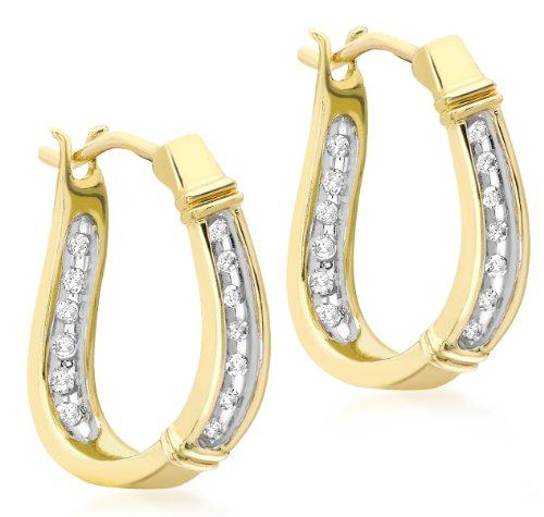 Carissima Gold - Boucles d'oreilles créoles - Femme - Or jaune (9 cts) 1.63 Gr - Diamant