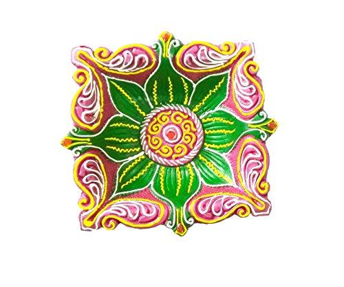 Craft Art India Handmade Square Shape Earthen Clay / Terracotta Decorative Dipawali / Diwali Diya / Tealight / Oil Lamps for Pooja / Puja