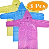 PAXCOO 3 Pcs Portable Raincoat Rain Poncho with Hood and Sleeves in Different Colors