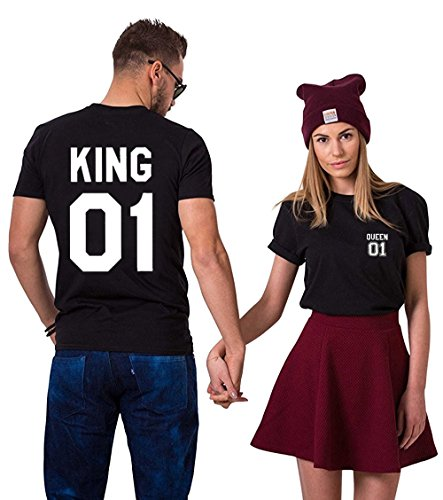 Couple King Shirt 100% Cotone T-Shirt Queen Coppia Manica Corta Stampa Maglietta Regalo di San Valentino Girocollo per Donna Uomo Nero+nero