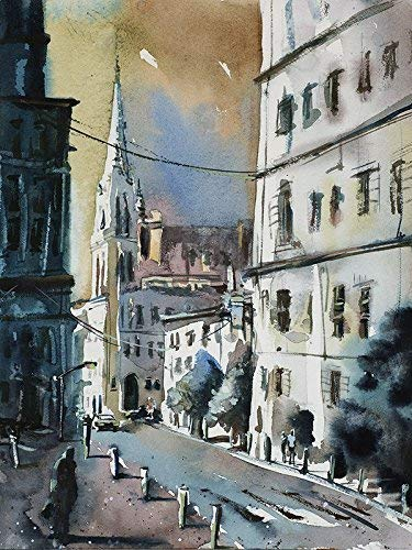 Imagined cityscape scene painted in watercolor by Raleigh, NC artist Ryan Fox (print).