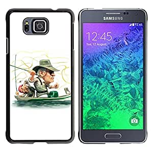// PHONE CASE GIFT // Duro Estuche protector PC Cáscara Plástico Carcasa Funda Hard Protective Case for Samsung ALPHA G850 / Funny Fisherman /