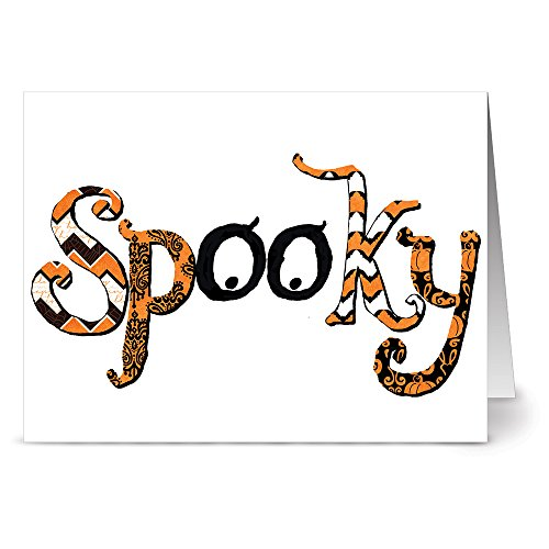 24 Holiday Note Cards - Patterned Spooky - Blank Cards - Tangerine Zest Envelopes Included (Halloween Pumpkin Note Cards)