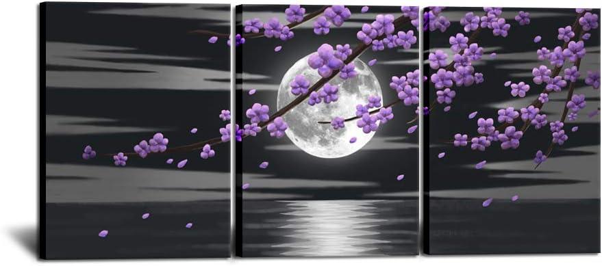 HOMEOART Purple Flower Wall Art Prints Black and White Full Moon Seascape Purple Blooming Floral Painting Living Room Bedroom Decor Framed Artwork 12