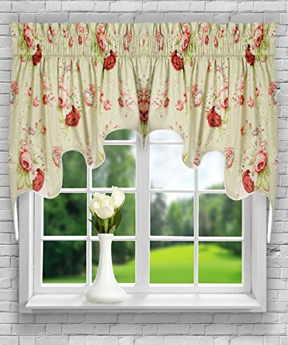 Ellis Curtain Sanctuary Rose 100-by-30 Inch Lined 2-Piece Duchess Valance, Linen