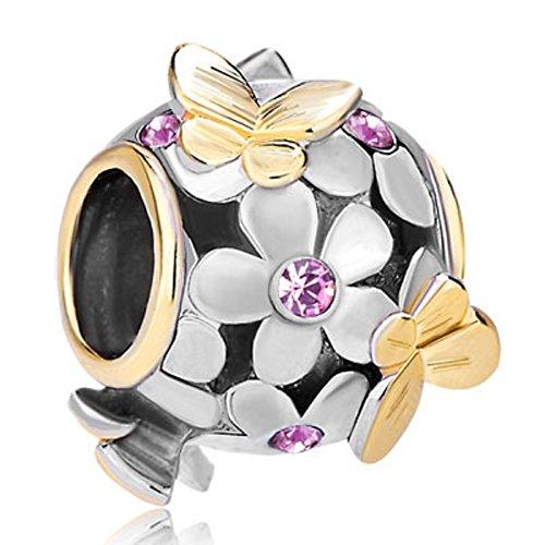 June Bead Boy Charm - JewelryHouse Butterfly Imitation Birthday Crystal Flower Bead Charms for Bracelet (June)