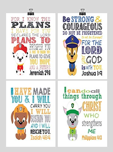 - Paw Patrol Inspirational Nursery Decor Art Print Set of 4 - Chase, Marshall, Rocky and Zuma
