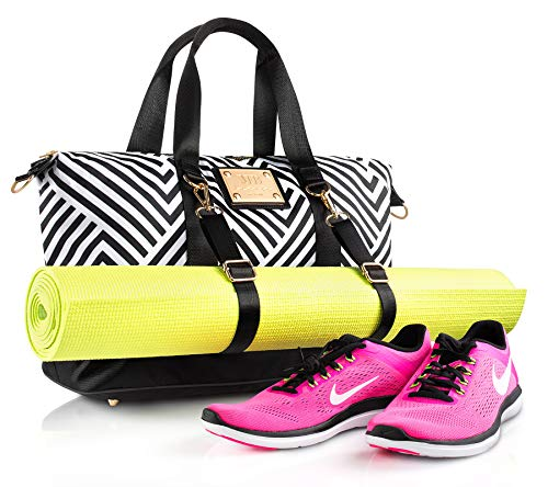 Designer Gym bag Workout Purse with Yoga Mat Holder Straps and shoe compartment