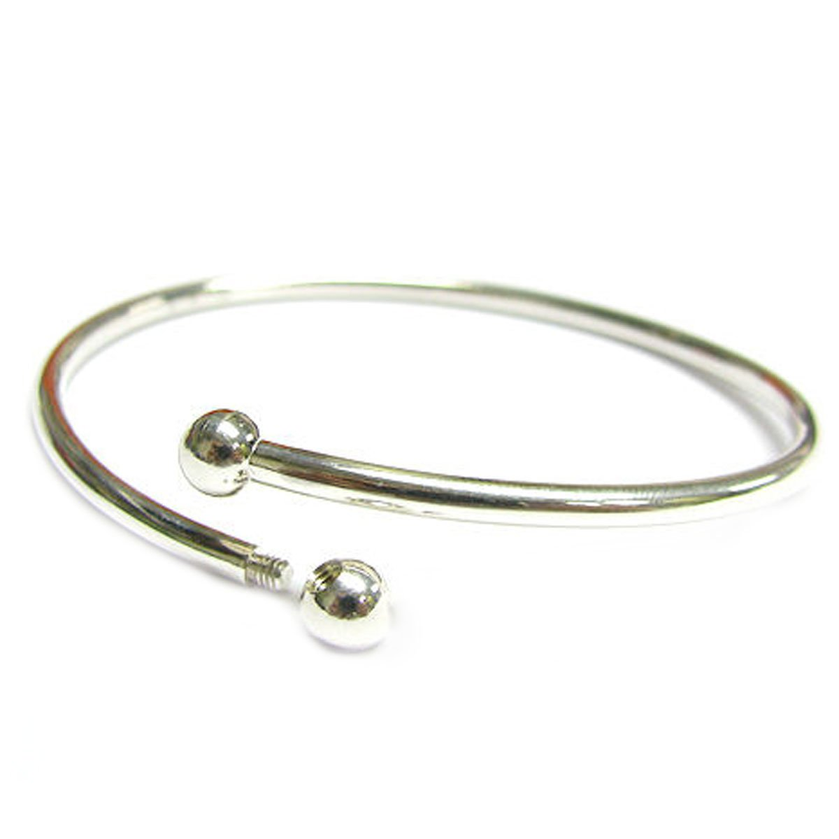 Sterling Silver Flex Bangle Cuff Bracelet with Screw End For European Bead Charms, 7''