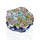 YUFENG Hinged Trinket Box Jeweled Hand-painted Patterns Jewelry Box Bejeweled Box Collectible for Women (Flower shaped trinket box)