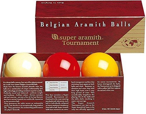 Aramith 61.5 mm Super Armith Tournament Carom/Carambole Billiard/Pool Balls, Complete 3 Ball Set by Aramith