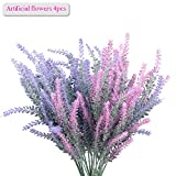 artificial flowers for outdoors - Lavender Bouquet, Meiwo 4pcs Artificial Flowers Lavender Bouquet for Garden / Home / Cafe / Office / Wedding Decor (Purple/Pink)