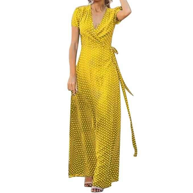 Vestido para Mujer Largo Verano Casual 2019,PAOLIAN Vestido Fiesta Manga Cortas Sexy Talla Grande Vestido Flemingo Playa Cuello V Gasa Elegantes ...