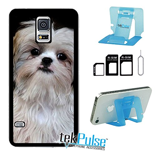 TekPulse (tm) Shih Tzu Breed Dog Real Leather TPU Back Cell Phone Case & Nano Sim Card Adapter & Collapsible Cell Phone Stand - [Bundle Pack, 3 pcs] - Direct Print Technology ()