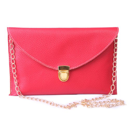 HDE Women's Envelope Clutch Purse Handbag (Red) (Clutch Purse)