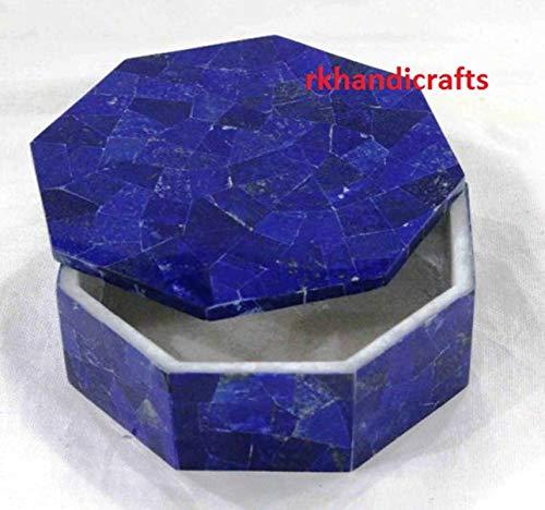 rkhandicrafts 8 Inches Diameter Bangle Box Ring Box Pin Box Inlay Art Lapis Lazuli Random Work Birthday Gift Item