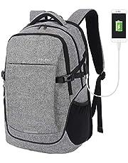 Hanke laptopryggsäck 15,6 tum affärsresor bärbar dator ryggsäck med regnskydd, lätt högskola ryggsäck med en USB-laddningsport för män kvinnor