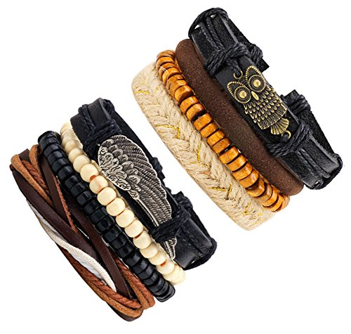JF.JEWELRY Simple Series Of Stackable Braided Leather Cuffs Bracelet for Men And Women 8-PCS Mixed