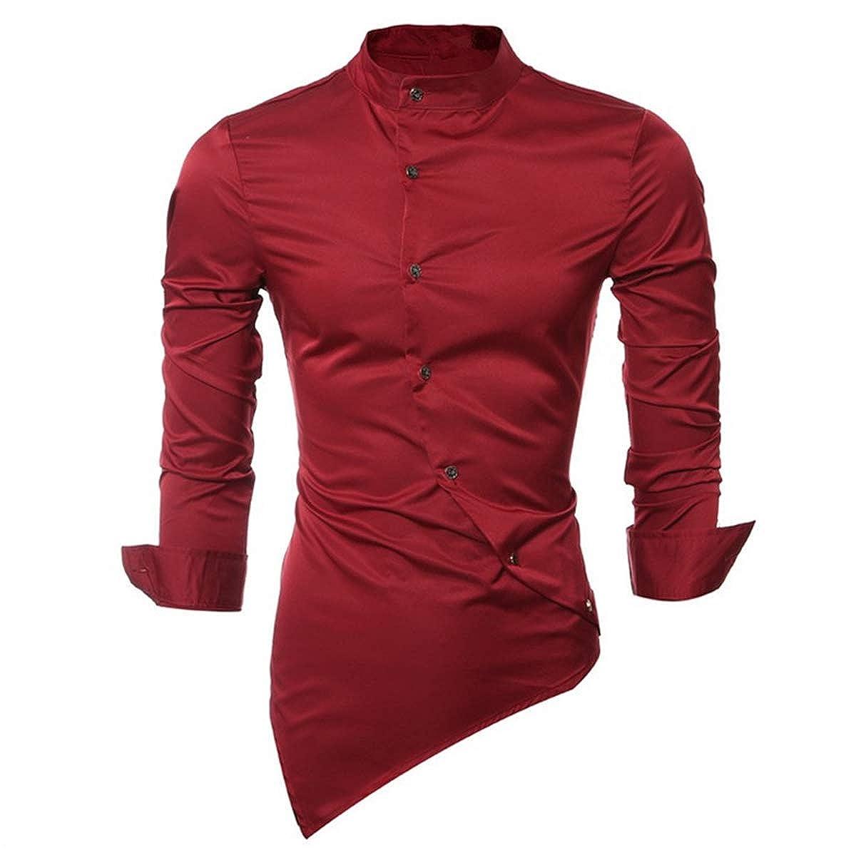 Baby Room Mens Casual Stand Collar Long Sleeve Irregular Business Shirt