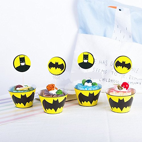 Astra Gourmet 24 Sets Batman Cupcake Wrappers and Toppers for Cake & Themed Party Decoration Cupcake Favor Supplies]()