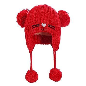59d658896b4c Bonnet pour enfant Bonnet Bonnet Bébé Chat double boule en tricot Chapeau  avec cache-oreilles