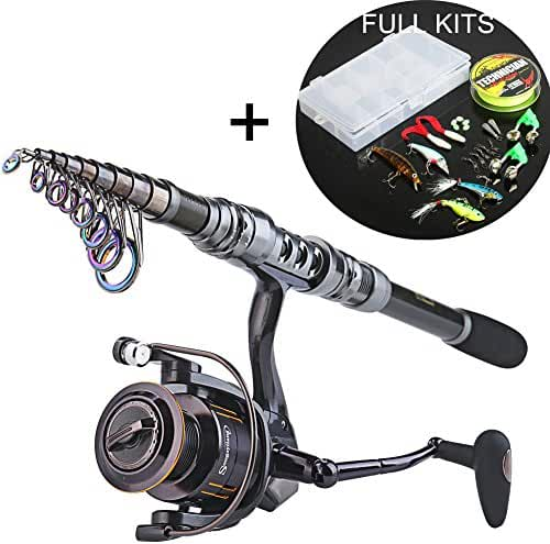 Sougayilang Telescopic Fishing Rod and Fishing Reel Combo Kits