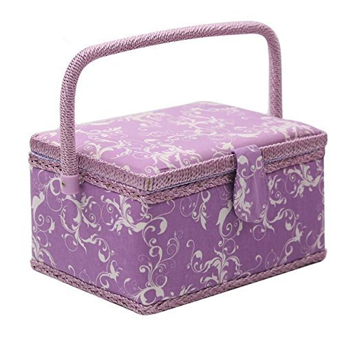 SAXTX Wooden & Fabric Medium Sewing Basket with 129 Pcs Sewing Accessories  Sewing Box Organizer with Multiple Compartments for Adults/Women/Kids/Girls/Beginner