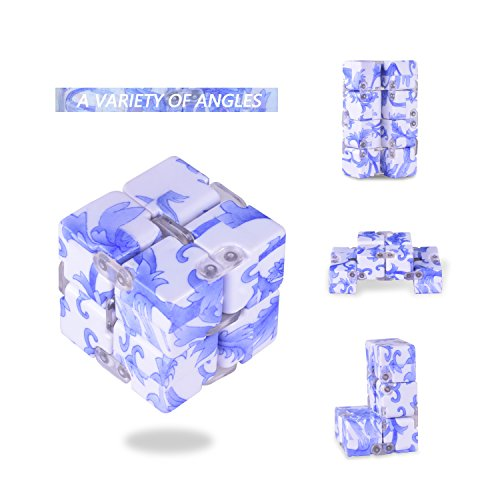 LeeHur Infinite Cube, Magic Infinity Flip Cube Forme de Carré Stress Relief et Anxiété Jouet pour enfants et adultes - Bleu et Blanc
