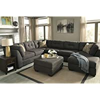 Delta City Contemporary Microfiber Steel Color Sectional Sofa and Ottoman