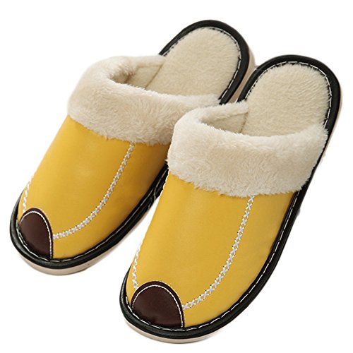 CYBLING Winter Indoor Slipper Waterproof PU Leather Anti-Skid Cotton Slipper Yellow I7Xg27