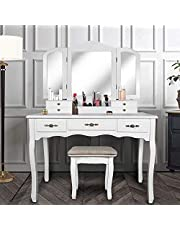 YOUKE Vanity Set, Tri-Folding Necklace Hooked Mirror, 7 Drawers, Makeup Dressing Table Cushioned Stool Easy Assemble(White)