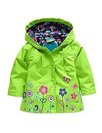 Leoneva Baby Girl Waterproof Hooded Cute Floral Jacket Outwear Raincoat Hoodies