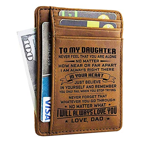 Dad Daughter Wallet - Engraved Leather Front Pocket Wallet (B - Daughter, dad will always love you)