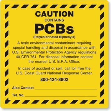 ''CAUTION CONTAINS PCBs''- 6'' x 6'' Industrial Labels, Vinyl - Pack of 100