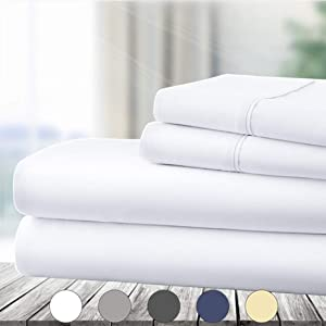 Abakan Queen Bed Sheet Set 4 Piece Super Soft Brushed Microfiber 1800 Thread Count Hotel Luxury Egyptian Sheet Breathable, Wrinkle, Fade Resistant Deep Pocket Bedding Sheet Set (Queen, White)