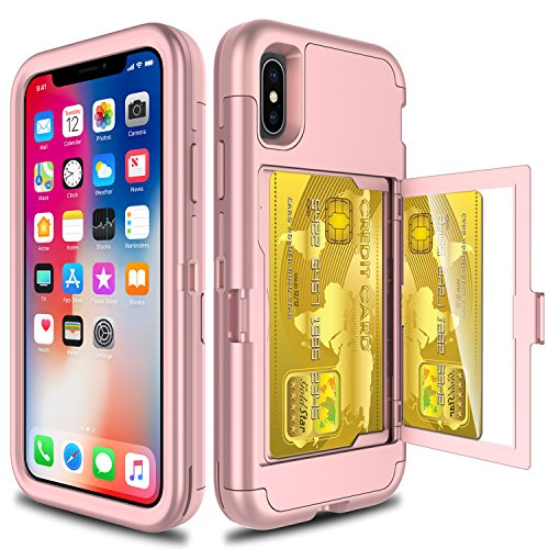 iPhone X Case, Elegant Choise Wallet Case with Hidden Back Mirror 3 in 1 Heavy Duty Shockproof Armor Defender Protective Case Cover with Card Slot Holder for Apple iPhone X / iPhone 10 (Rose Gold)