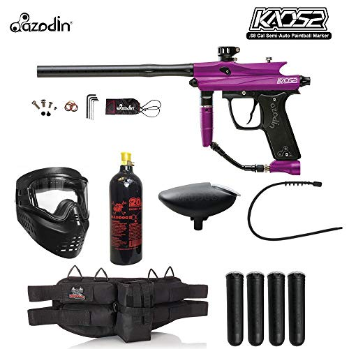 (MAddog Azodin KAOS 2 Silver Paintball Gun Package - Purple/Black )
