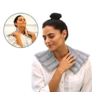 Heating Pad Solutions - Microwavable Heating Pads for Shoulder and Neck | Reusable and Natural Hot Packs for Pain Relief | Used for Sore Neck, Aching Shoulders, Muscle Pain, Arthritis & Stiff Joints