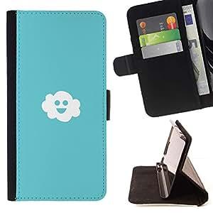 Momo Phone Case / Flip Funda de Cuero Case Cover - Nube Cielo azul claro Felicidad Blanco Smiley - Samsung Galaxy S6 Edge Plus / S6 Edge+ G928