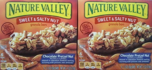 Nature Valley Sweet & Salty Chocolate Pretzel Nut Granola Bars, 7.4oz Box (2 Pack)
