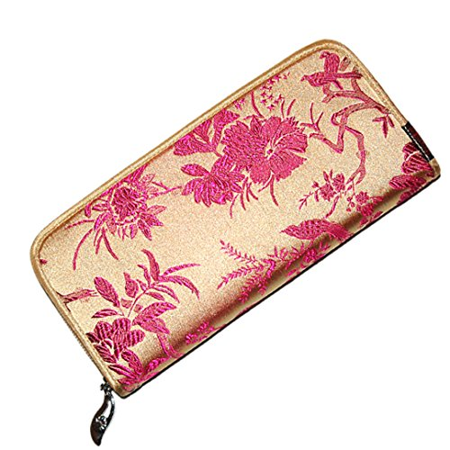 Chinese Silk Brocade Satin Pouch Lucky Bird Handbag Coin Purses Long Wallet Mud Gold